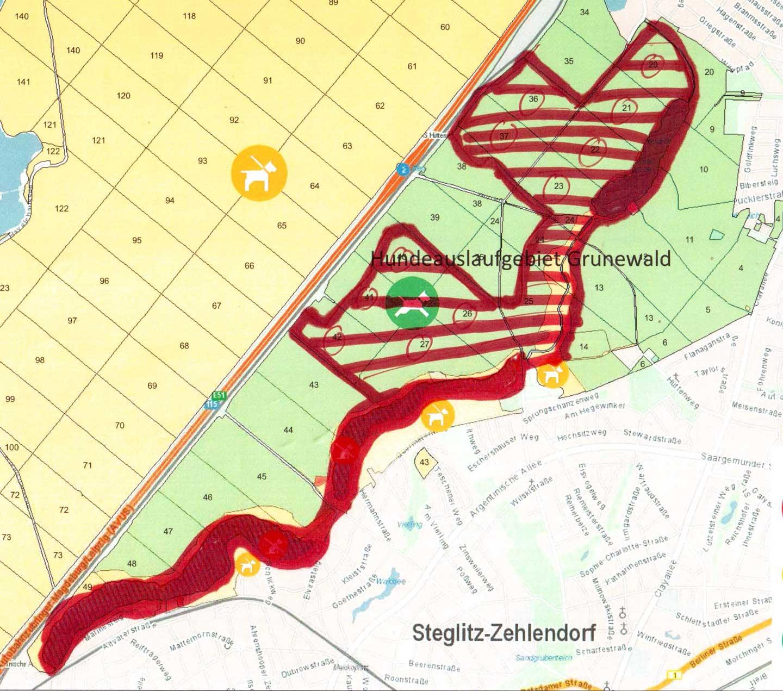 Grafik zukünftig eingeschränktes Hundeauslaufgebiet Grunewald